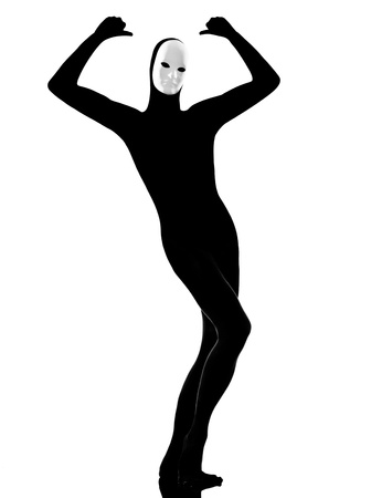 performer man mime with mask satisfied on studio isolated on white background photo