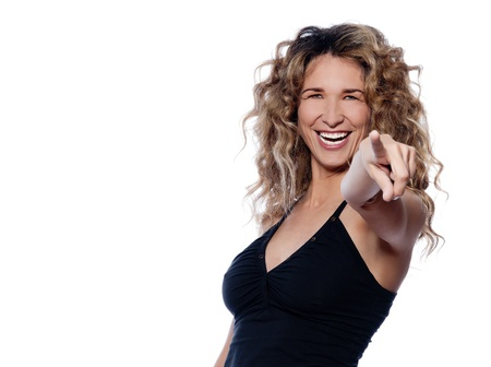 beautiful caucasian woman pointing cheerful portrait isolated studio on white background photo