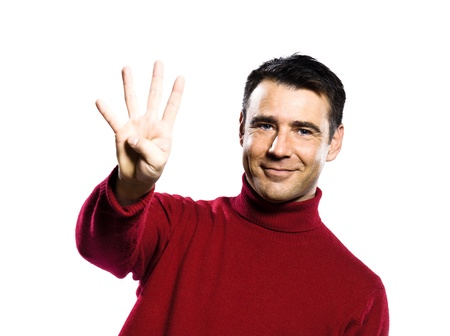 caucasian man 4 four  showing  fingers  counting gesture studio portrait on isolated white backgound Stock Photo - 13738200