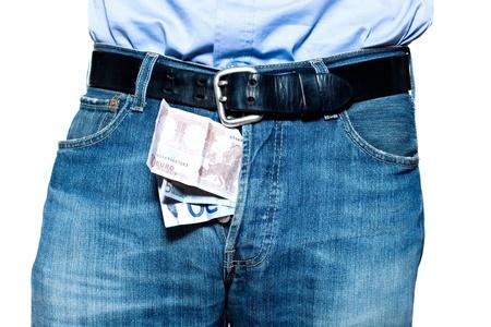 prostituta: Detalle de la vacuna del euro en pantalones de mezclilla azul en el estudio aislado en fondo blanco