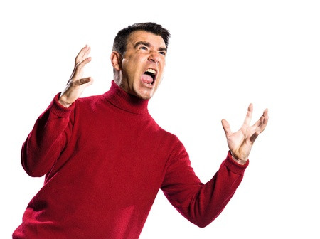 handsign: caucasian man anger gesture studio portrait on isolated white backgound