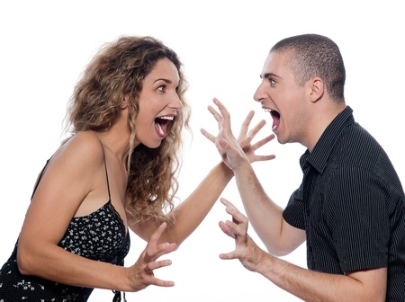 jokes: caucasian couple portrait quarrel isolated studio on white background dispute screaming
