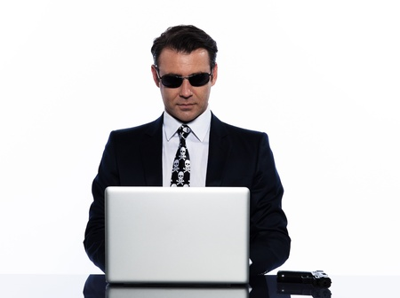 business man caucasian hacker computer attack isolated studio on white background photo