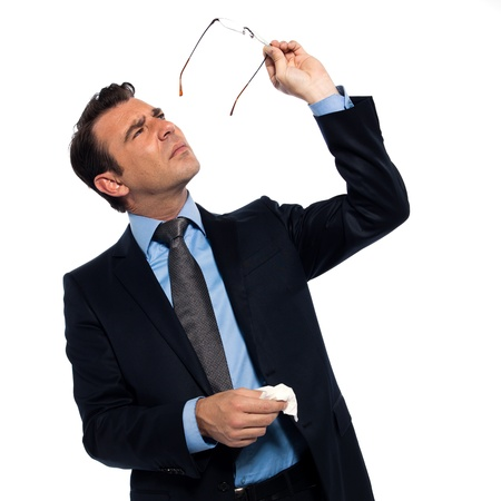 myopic: man businessman myopic cleaning glasses isolated studio on white background