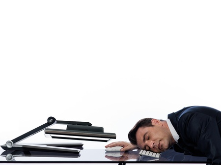 relationship between a caucasian man and a computer display monitor on isolated white background expressing sleep tired concept photo