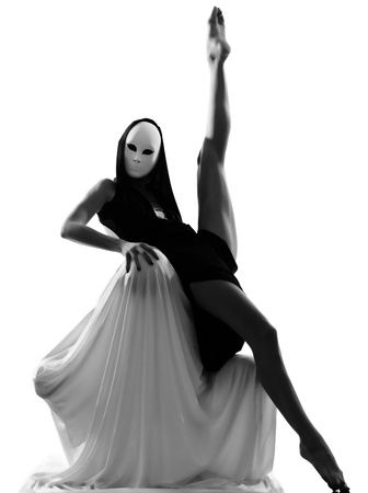 dancer performer mime with mask acting couple lovers conceptual in studio isolated on white background photo
