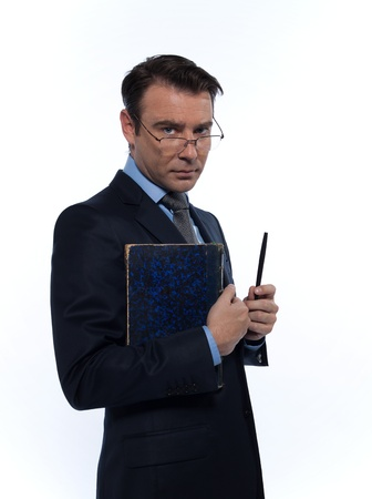 man caucasian teacher professor severe holding book isolated studio on white background photo