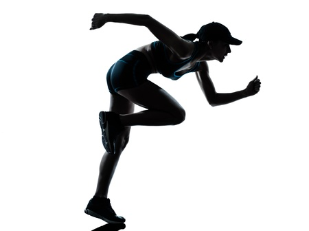 one caucasian woman runner jogger in silhouette studio isolated on white background Stock Photo - 13888478