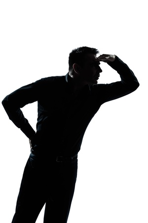 finding: one caucasian man portrait  looking forward gesture silhouette in studio isolated on white background
