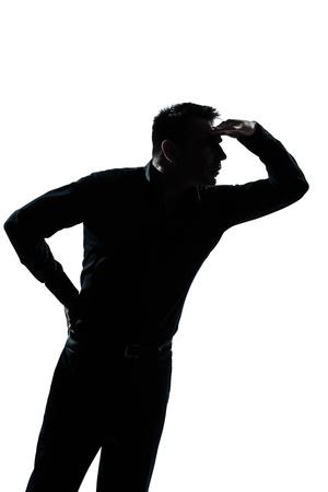 constat: un homme caucasien portrait silhouette geste impatient en studio isol� sur fond blanc