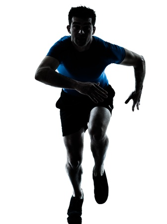 man looking out: one caucasian man runner running sprinter sprinting  in silhouette studio  isolated on white background