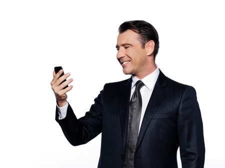 caucasian handsome man holding cell phone happy portrait isolated studio on white background photo