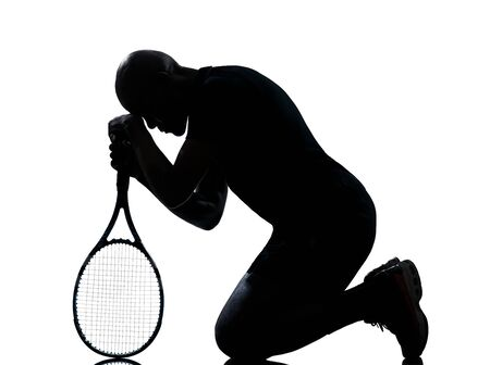 man african afro american playing tennis player on studio isolated on white background photo