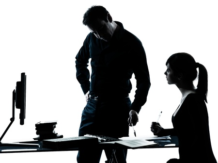 father teaching daughter: one man father professor and student teenager girl helping for homework in silhouette indoors isolated on white background