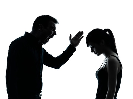 man screaming: one man and teenager girl dispute conflict  in silhouette indoors isolated on white background