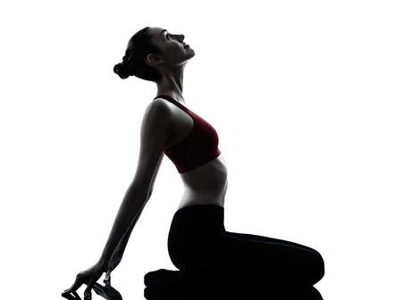 pilate: une femme caucasien exercice m�diter yoga en studio silhouette isol� sur fond blanc