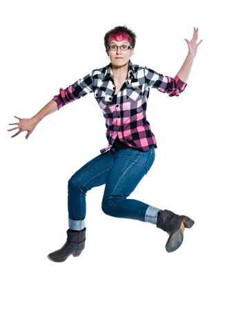 regards objectifs: one caucasian  jumping trendy woman anxious full length in studio on white isolated background