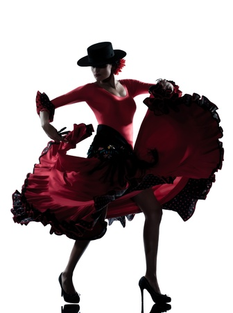 one woman gypsy flamenco dancing dancer on studio isolated white background