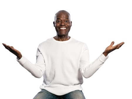 regards objectifs: Portrait of a happy afro American man with an amazed expression in studio on white isolated background Stock Photo