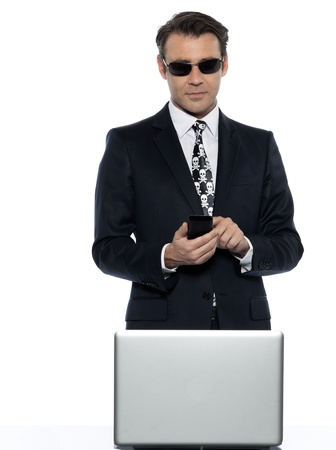 detourables: man computer hacker  pirate caucasian in studio isolated on white background Stock Photo