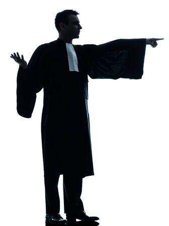suplicando: un abogado cauc�sico silueta del hombre pidiendo en el estudio aislado sobre fondo blanco Foto de archivo