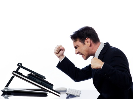 caucasian man and a computer display monitor on isolated white background expressing  bug  conflict rejection concept photo