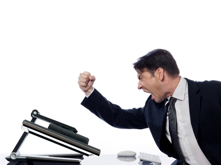 masculins: caucasian man and a computer display monitor on isolated white background expressing  bug  conflict rejection concept