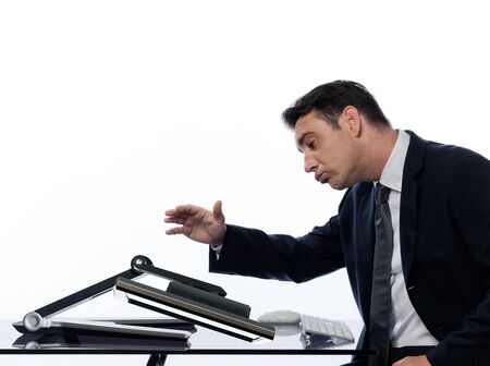 fonds blanc: relationship between a caucasian man and a computer display monitor on isolated white background expressing comfort failure concept