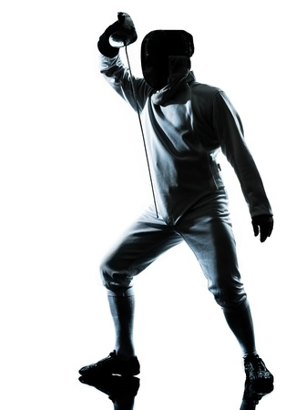 a l ecart: one man fencing silhouette in studio isolated on white background