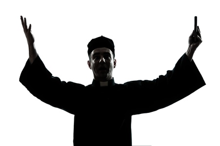 ombres: one caucasian man priest silhouette blessing in studio isolated on white background