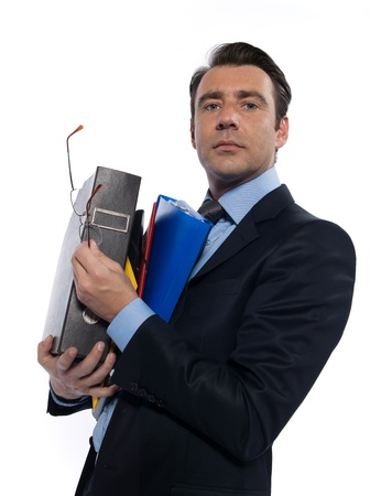 regards objectifs: man businessman holding files confident arrogant isolated studio on white background Stock Photo