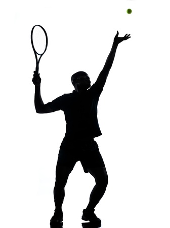 african american silhouette: man african afro american playing tennis player on studio isolated on white background