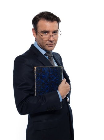 regards objectifs: man caucasian teacher professor holding closed book isolated studio on white background