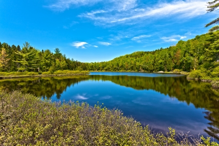 panorama lake of sacacomie  in quebec canada Stock Photo