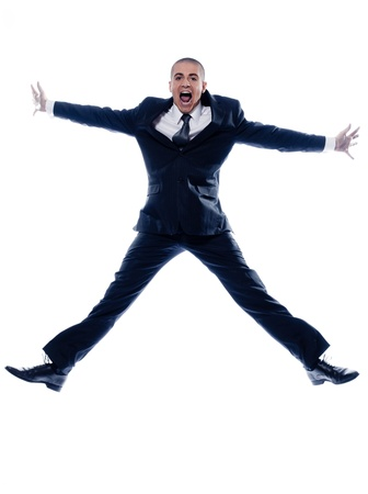 regards objectifs: caucasian man businessman jumping scream isolated studio on white background