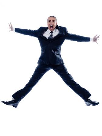 caucasian man businessman jumping scream isolated studio on white background photo
