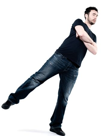 fonds blanc: strange man attitude man on isolated white background Stock Photo
