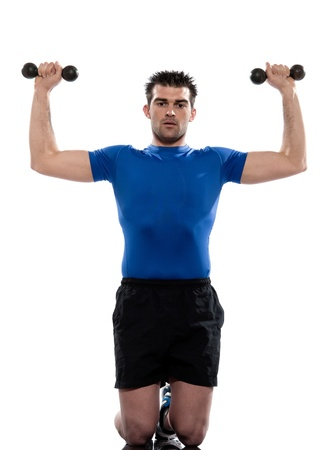 regards objectifs: man weight training Worrkout Posture exercising on white background with weights