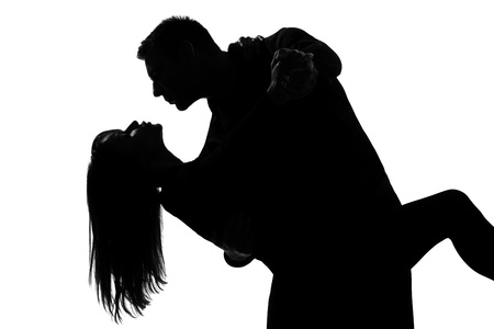 one caucasian couple lovers man and woman dancing tango in studio silhouette isolated on white background