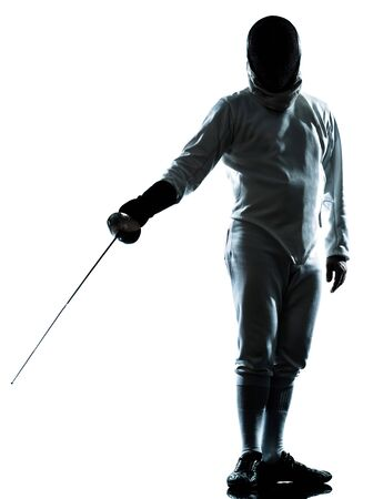 one man fencing saluting silhouette in studio isolated on white background photo