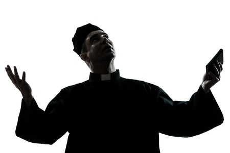 outstretched arms: one caucasian man priest silhouette in studio isolated on white background