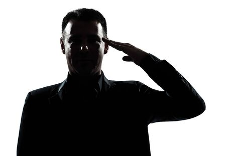 one caucasian man army salute gesture portrait silhouette in studio isolated white background photo