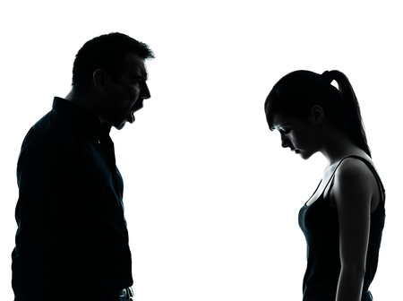 one man and teenager girl dispute conflict  in silhouette indoors isolated on white background Stock Photo - 14649871