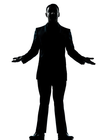 mature business man: one caucasian business man arms outstreched  silhouette standing Full length in studio isolated on white background