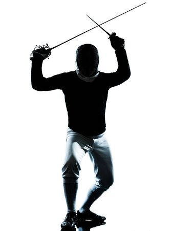 people in action: one man fencing silhouette in studio isolated on white background