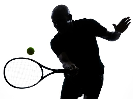 man african afro american playing tennis player forehand on studio isolated on white background photo