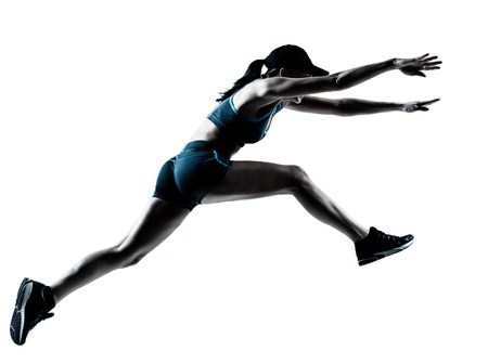 one caucasian woman runner jogger jumping in silhouette studio isolated on white background Stock Photo - 14683187