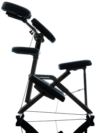 massage chair: chair massage in silhouette studio on white background