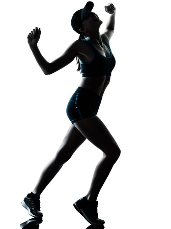 one caucasian woman runner jogger tired breathless in silhouette studio isolated on white background Stock Photo