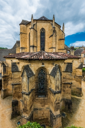 cathedral church in the beautiful city of sarlat dordogne perigord France photo